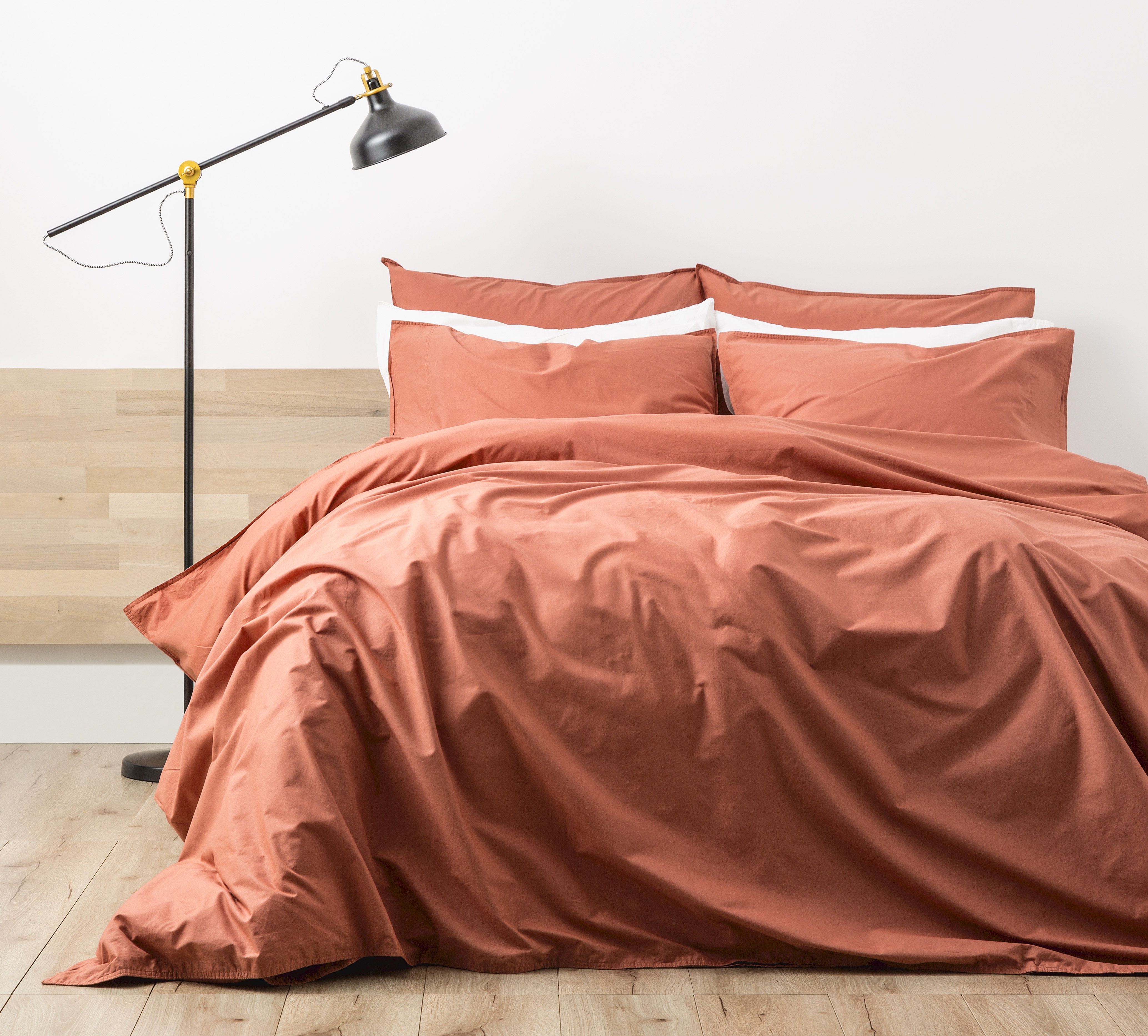 Renee Taylor Stone Wash Quilt Cover Set Rust Clay