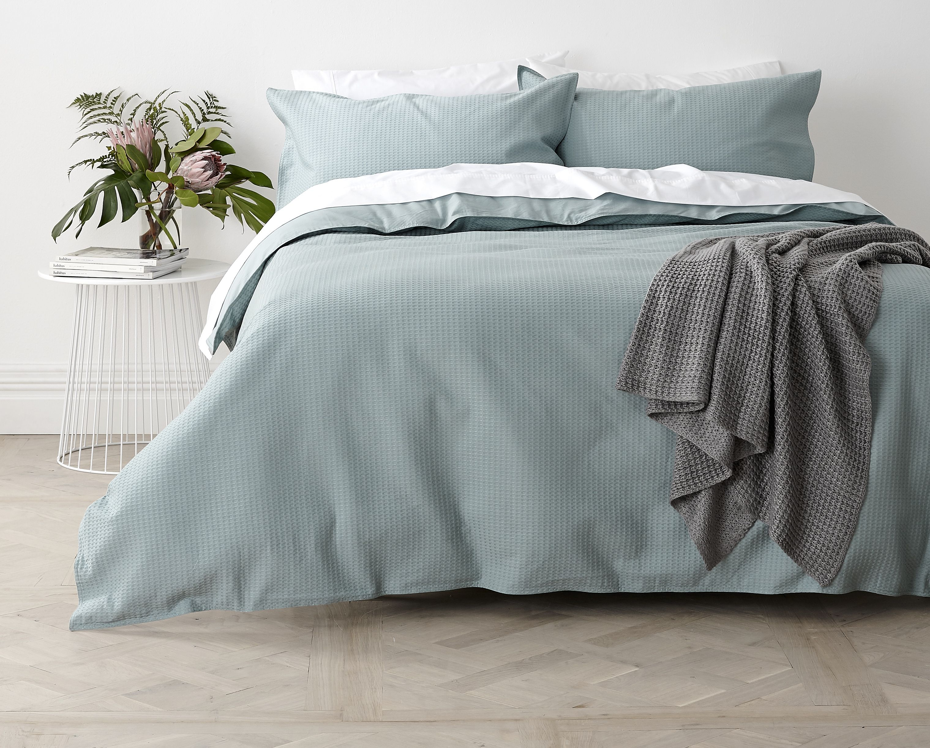 In2Linen Waffle Weave Pure Cotton Quilt Cover Set I Green|Fog  From $49.95