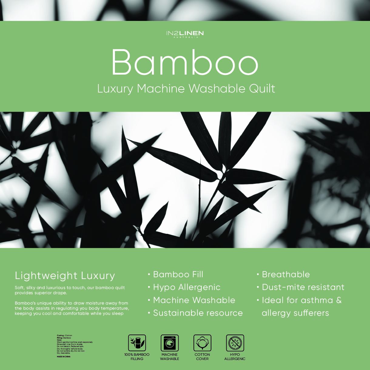In2linen Luxury 100% Bamboo Fill Quilt 250GSM | summer weight