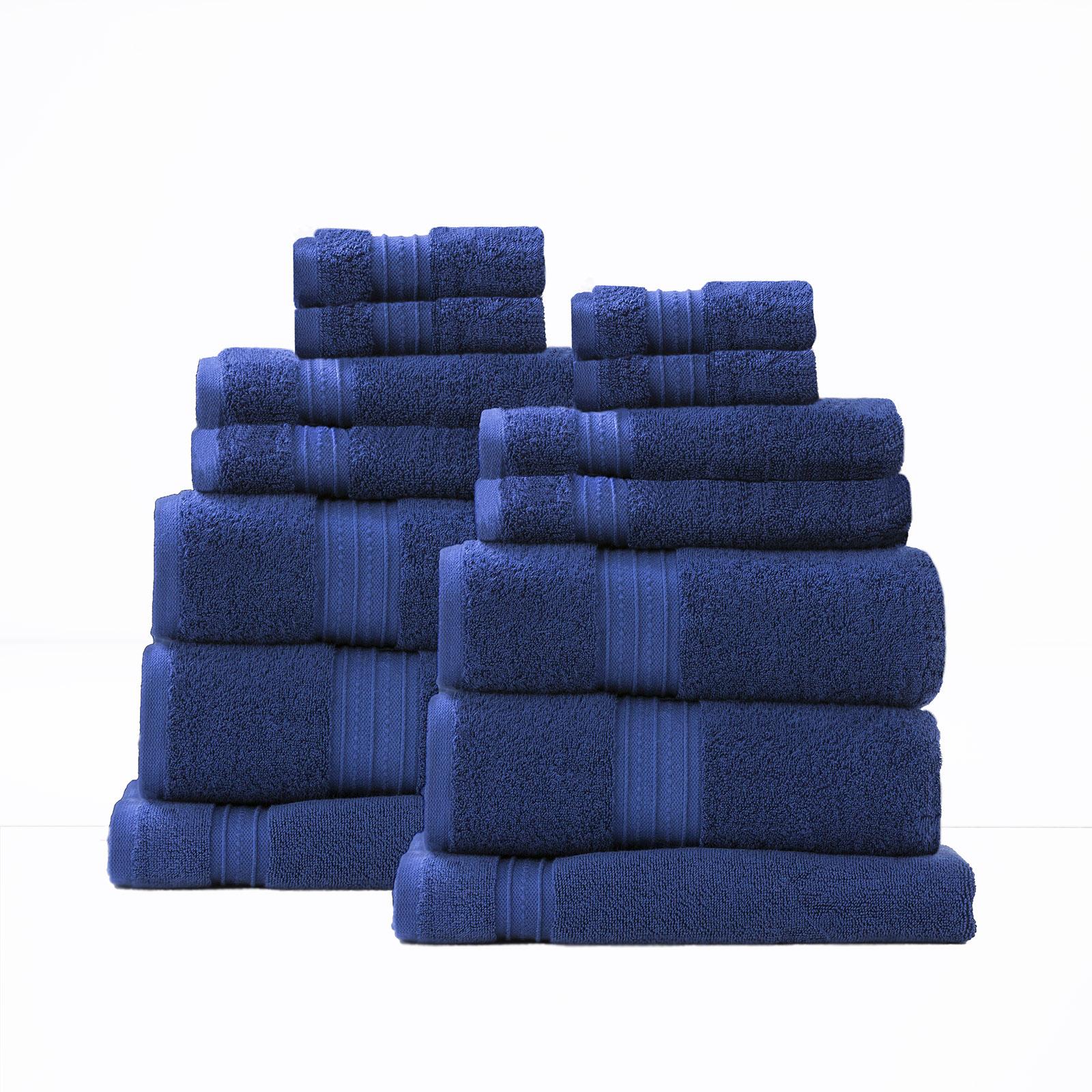 14 Piece Combed Cotton Zero Twist Towels 650 gsm | Royal Blue