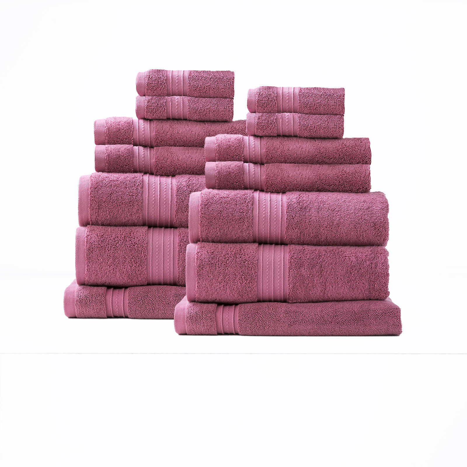 14 Piece Combed Cotton Zero Twist Towels 650 gsm | Rose Bud