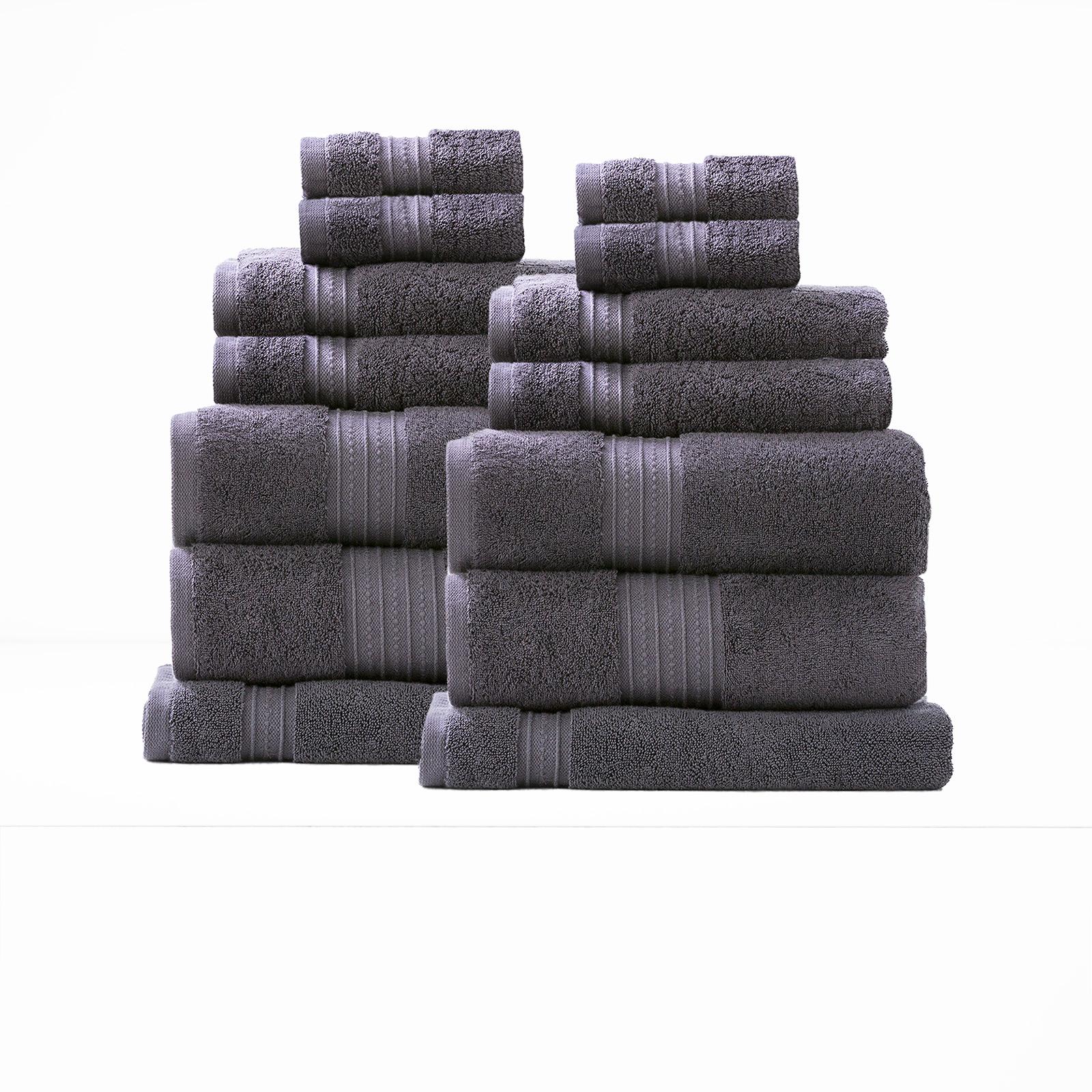 14 Piece Combed Cotton Zero Twist Towels 650 gsm | Carbon
