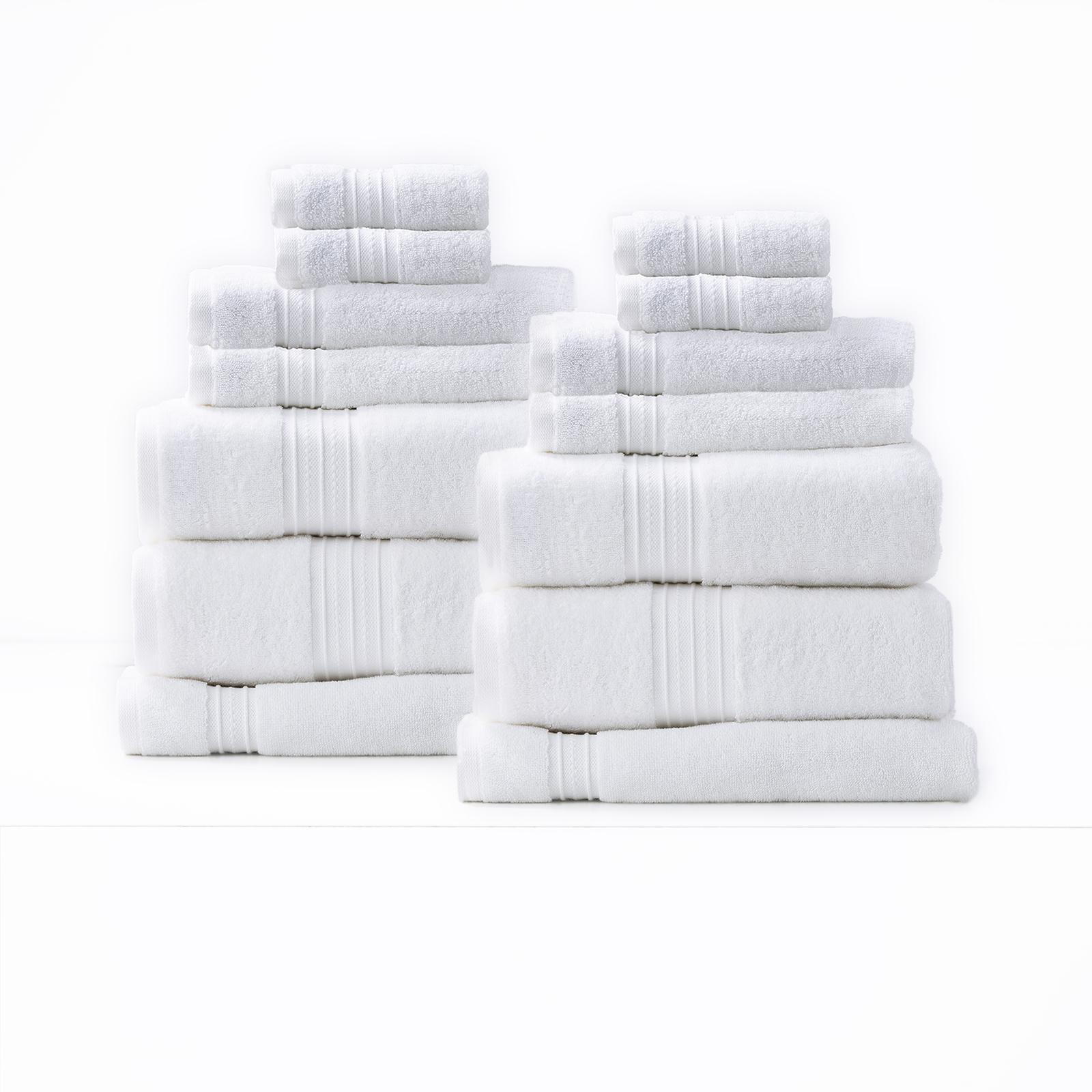 14 Piece Combed Cotton Zero Twist Towels 650 gsm | Bright White