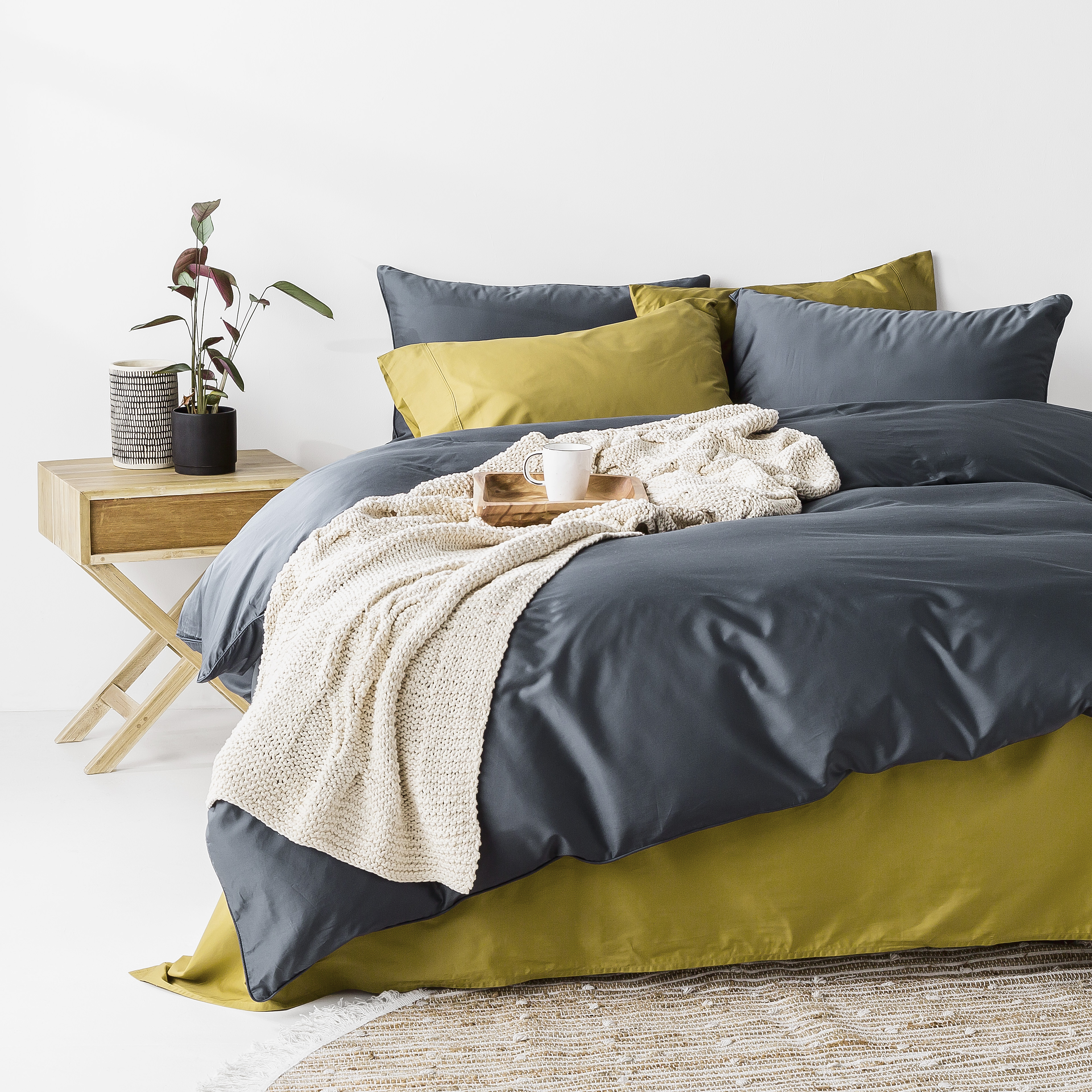 In2linen 500tc Bamboo Cotton Quilt Cover Set Prussian Blue