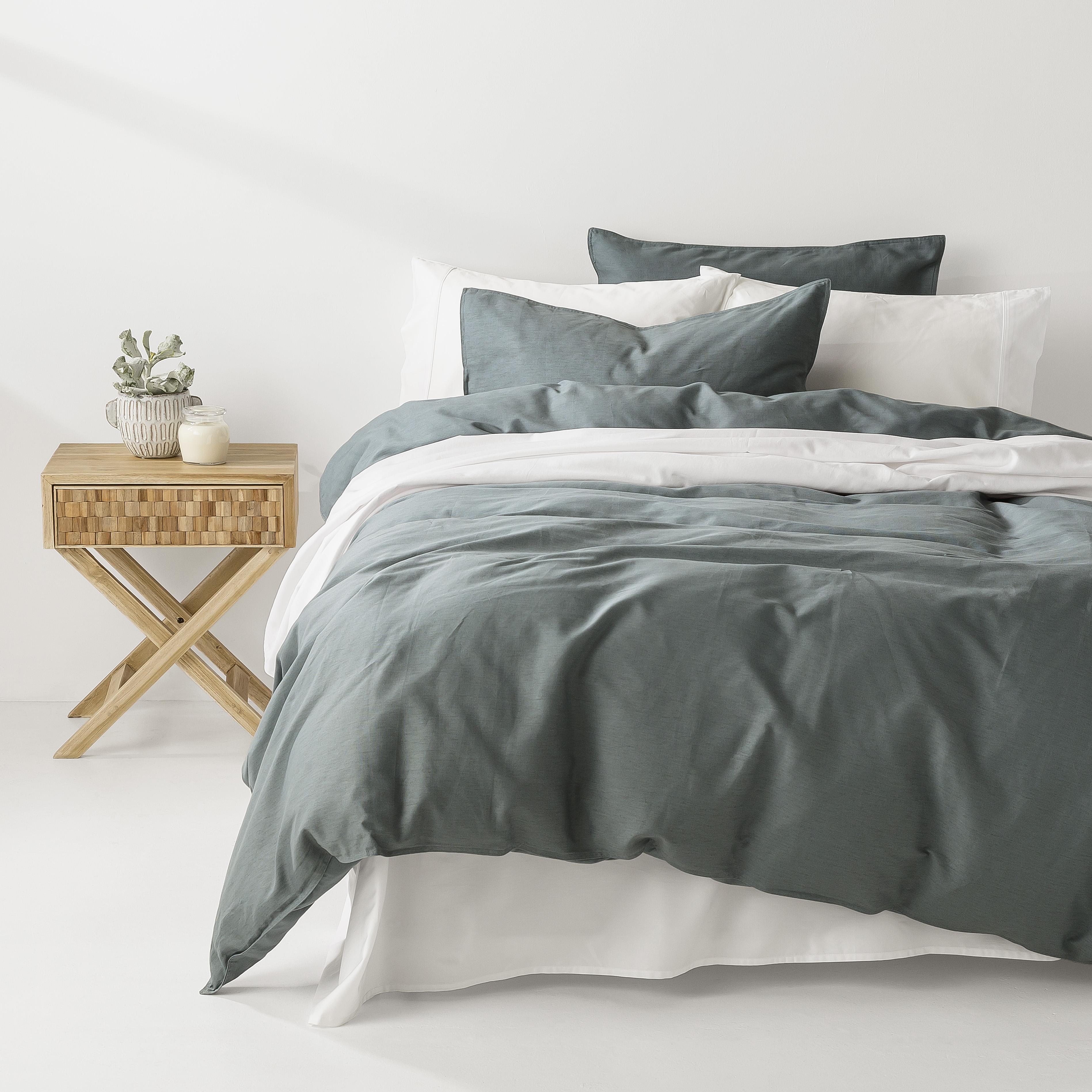 In2Linen Grange 100% Cotton Quilt Cover Set | Petrol