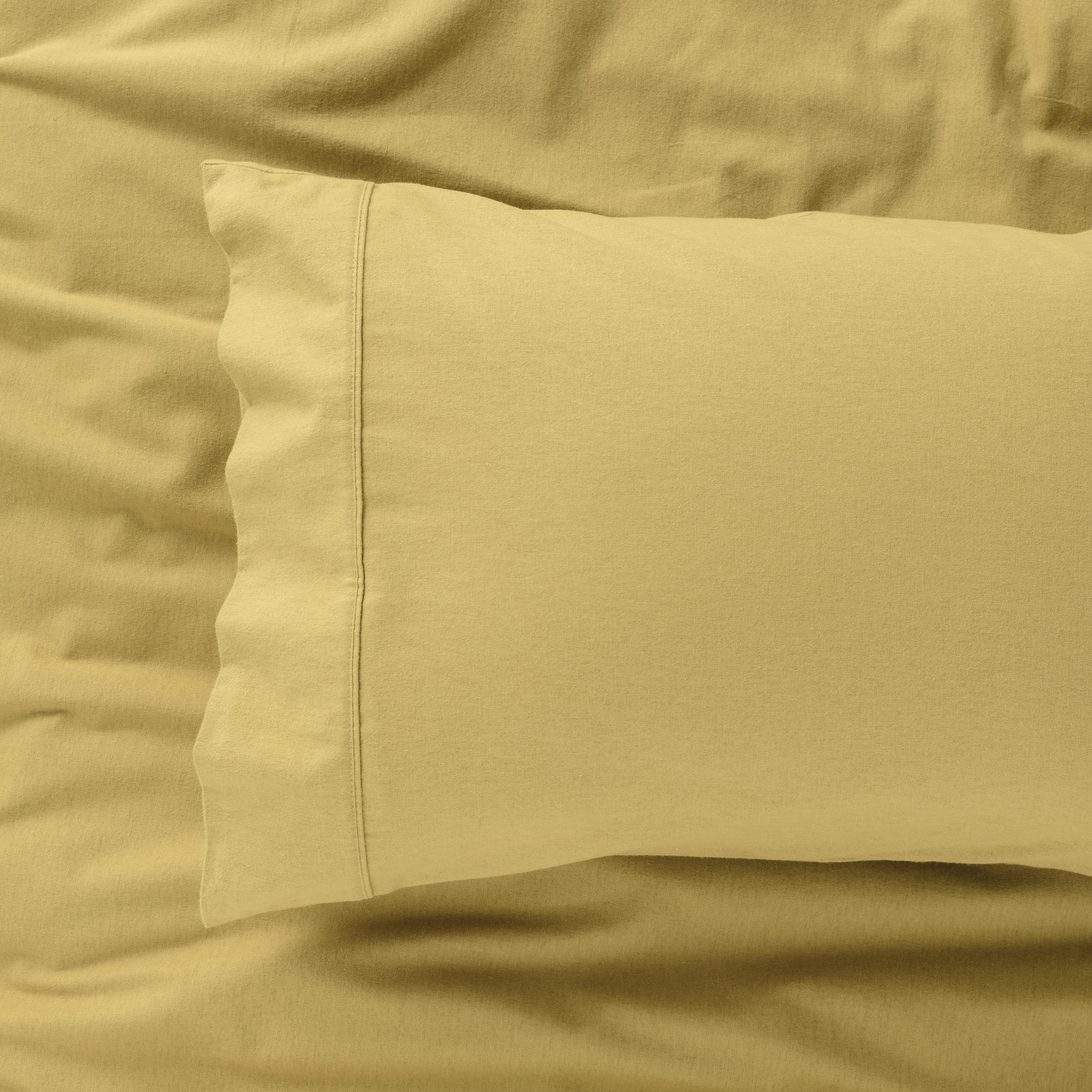 IN2LINEN Flannel Sheet Set Egyptian Cotton   Mustard