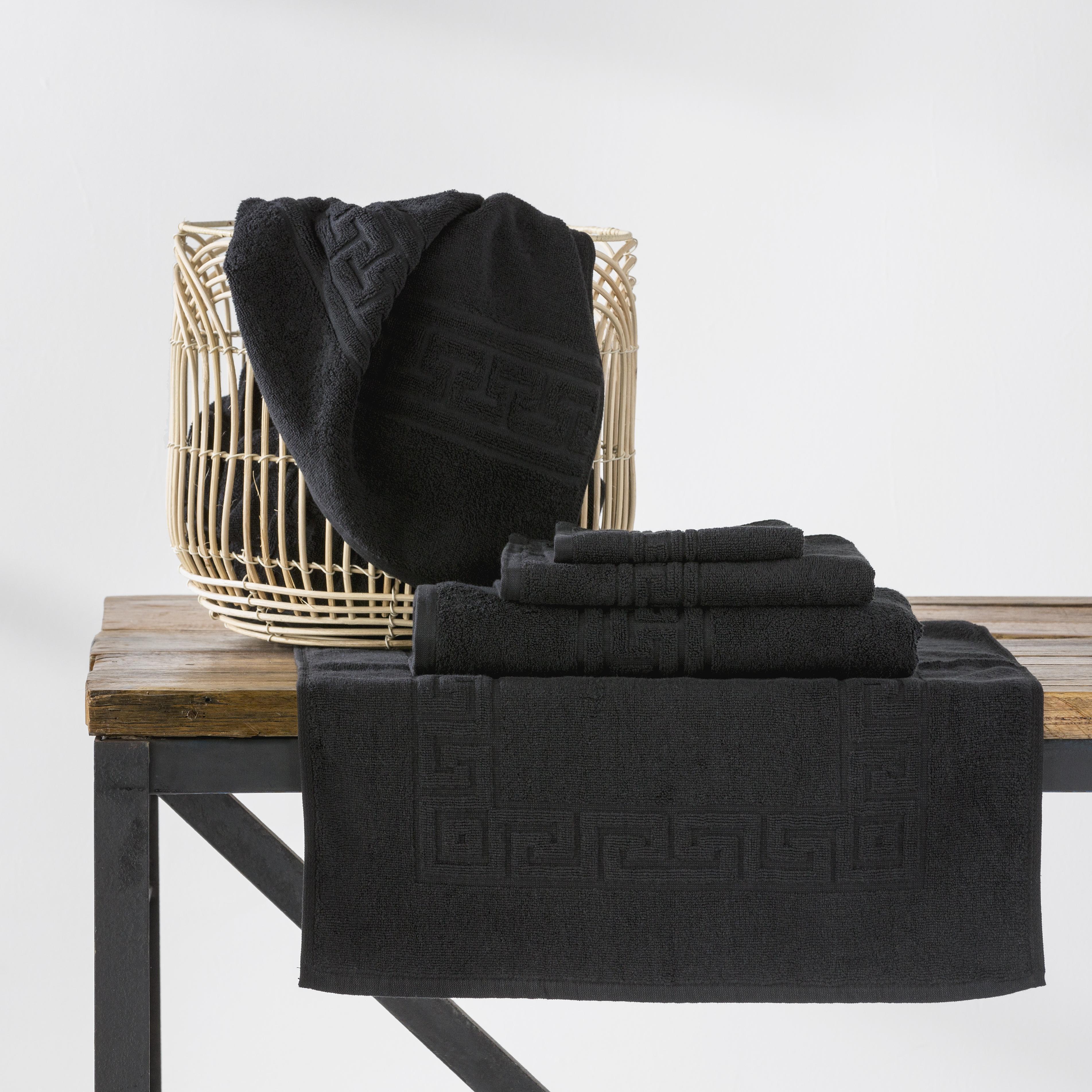 Greek Key Hotel Quality 100% Cotton Towels | Black