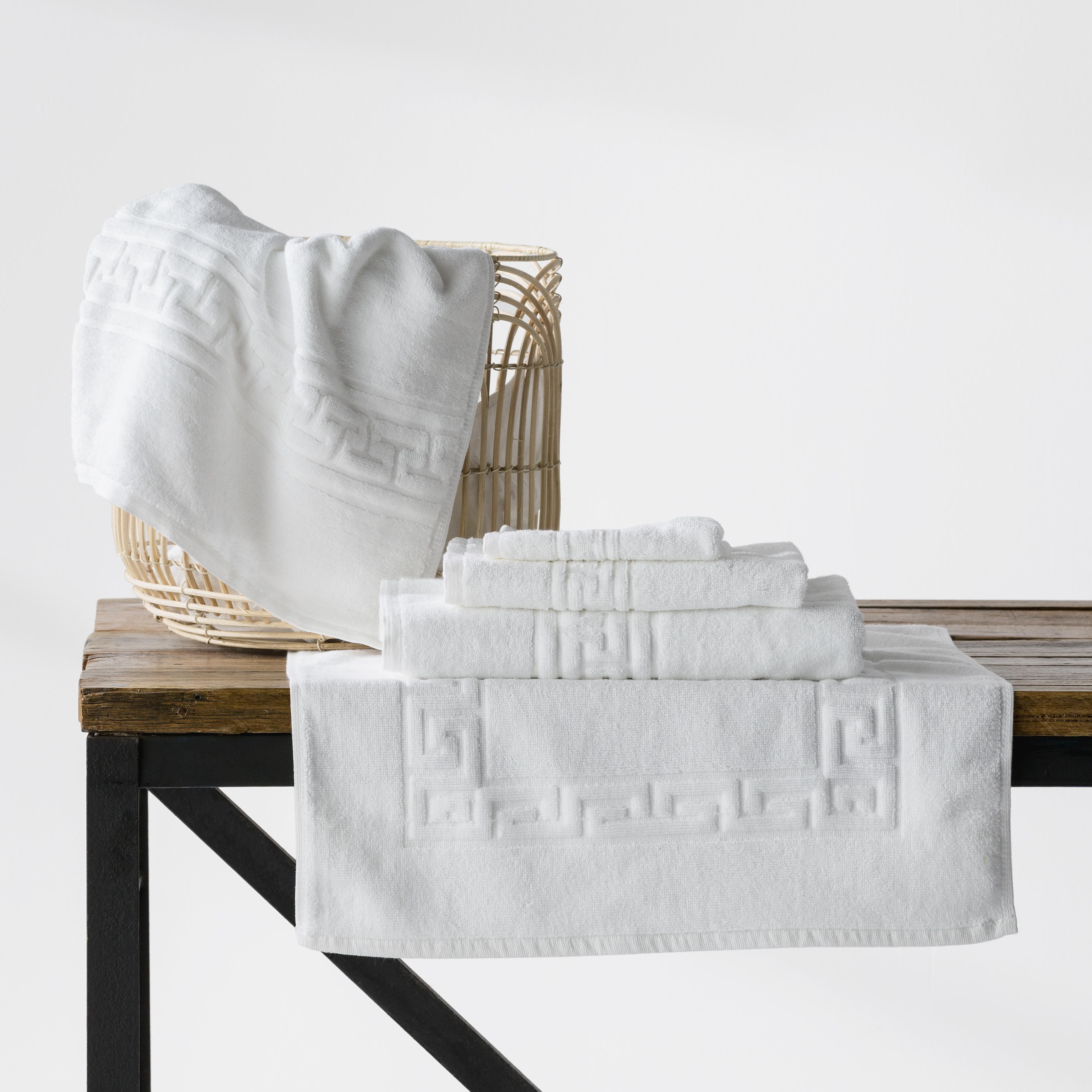 Greek Key Hotel Quality 100% Cotton Towels | White