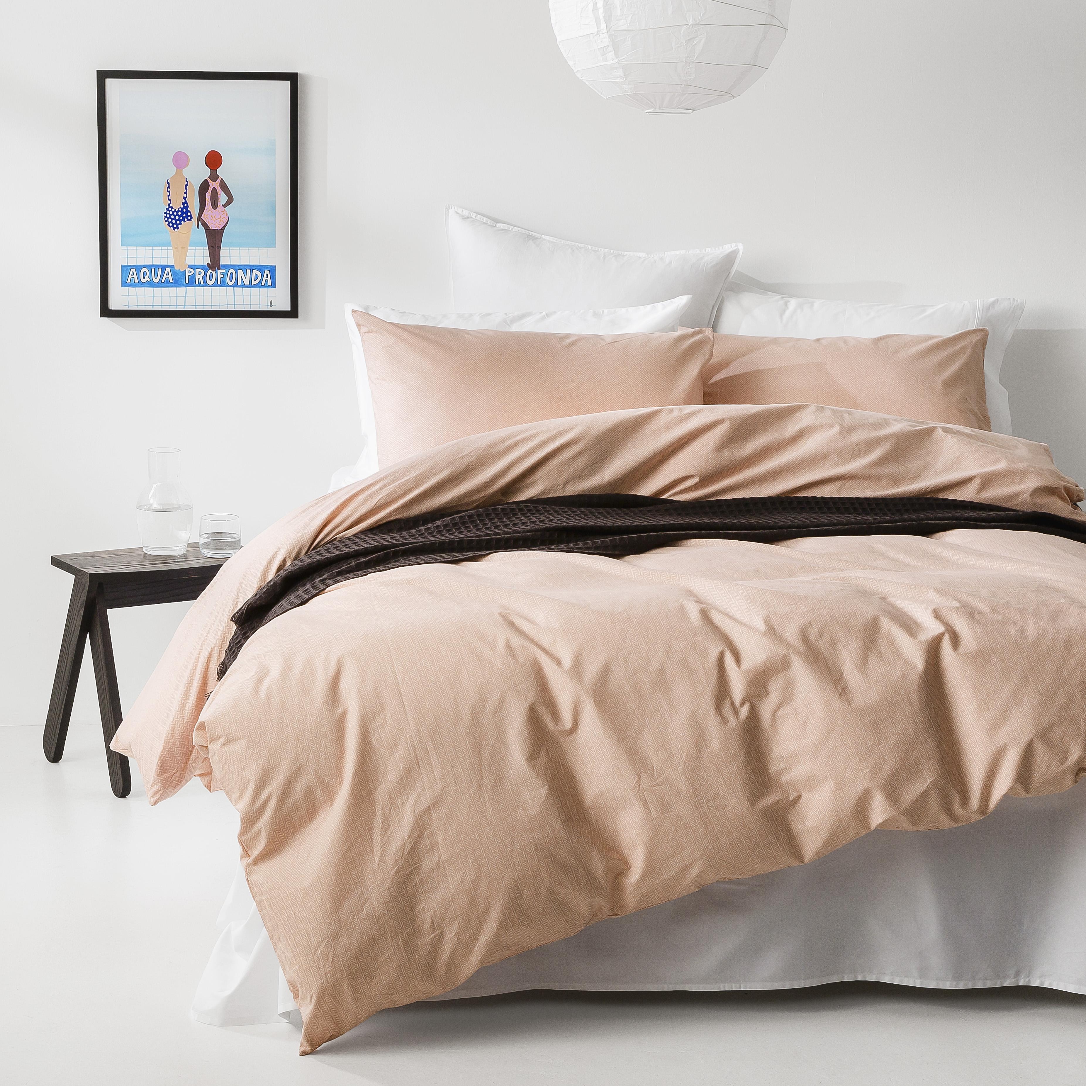 In2linen Herringbone print 100% Organic Cotton  Quilt Cover Set | Blush