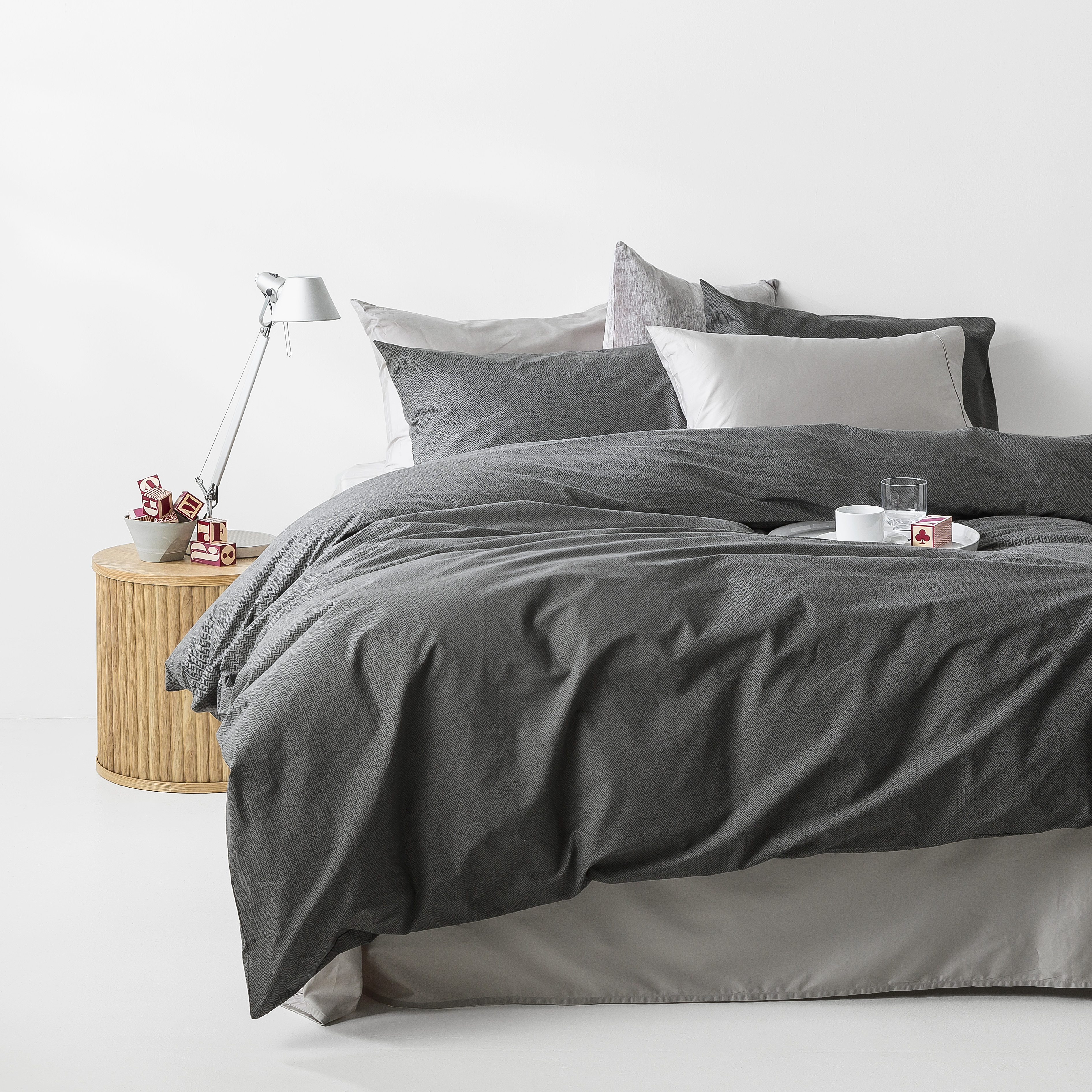 In2linen Herringbone print 100% Organic Cotton  Quilt Cover Set | Charcoal