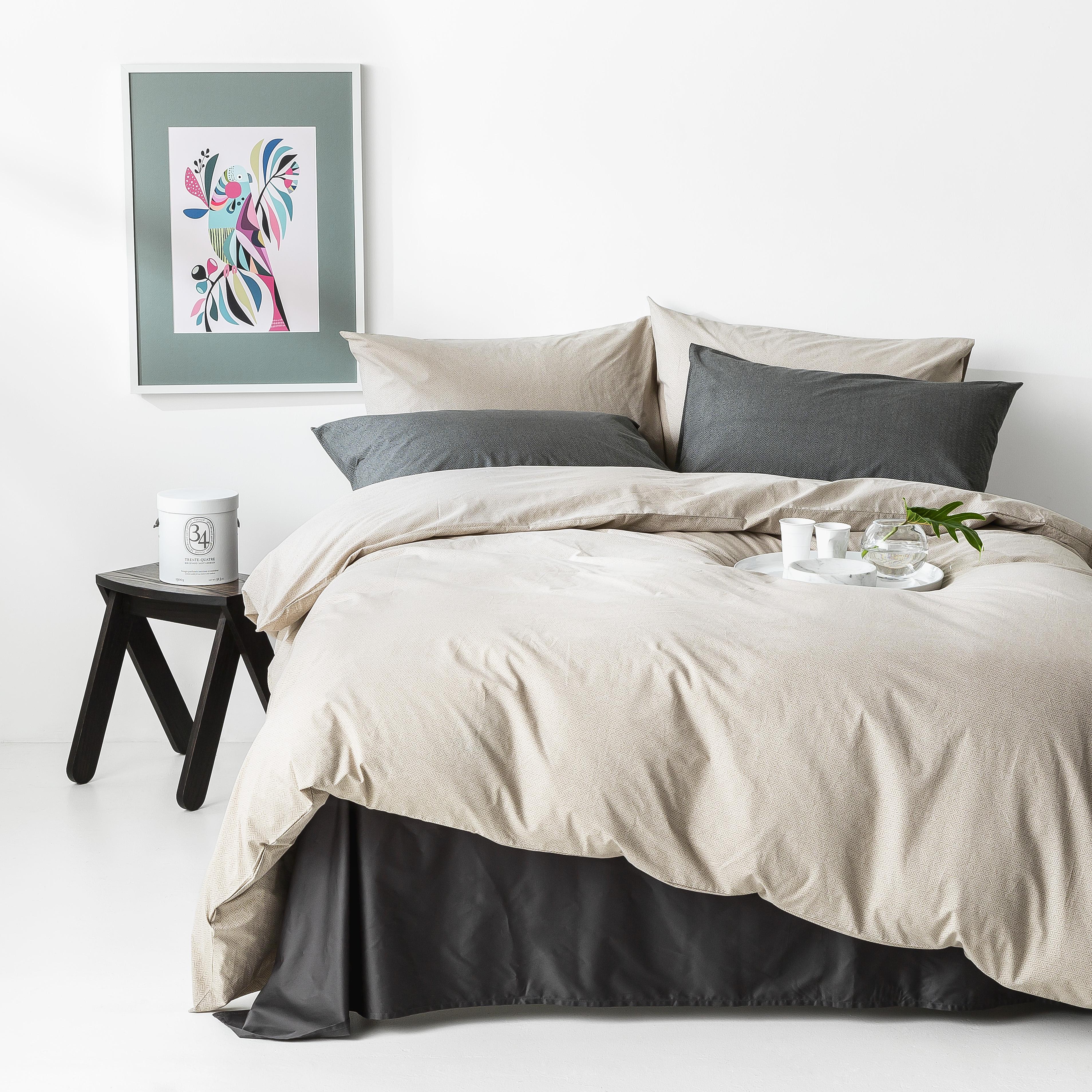 In2linen Herringbone print 100% Organic Cotton  Quilt Cover Set | Linen/Brown