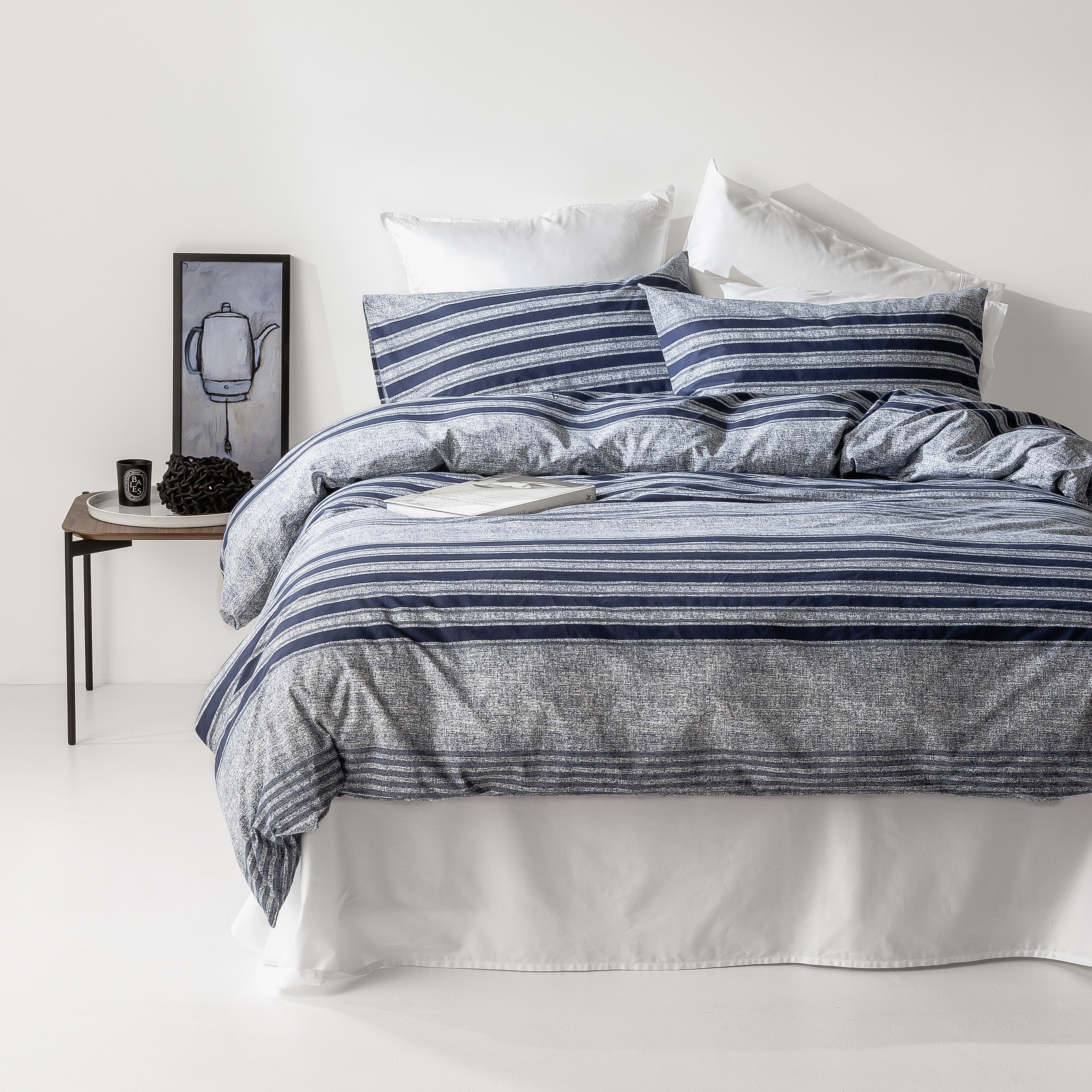 In2linen Oliver 100% Organic Cotton  Quilt Cover Set | Navy