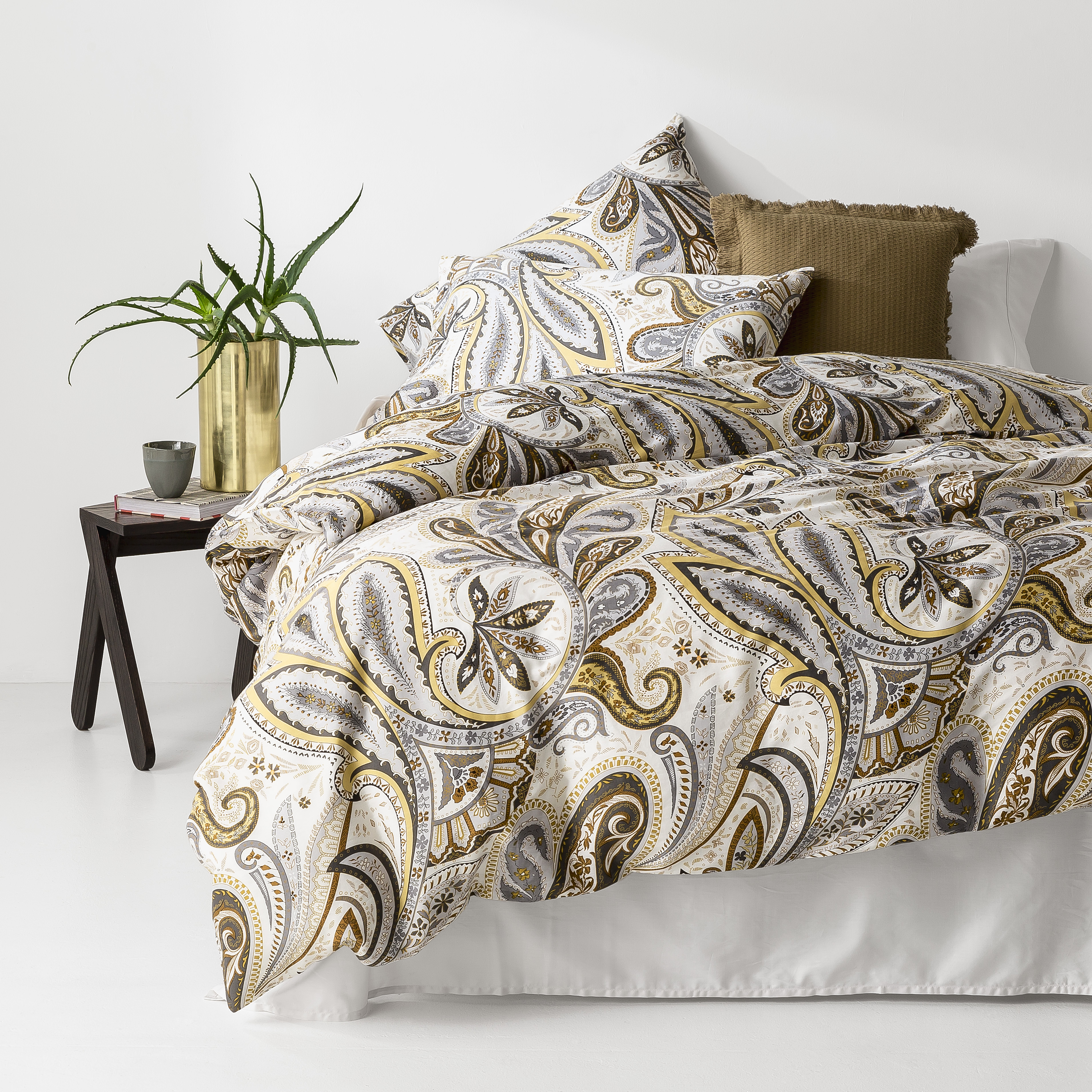 In2linen Paisley 100% Cotton 300 thread Quilt Cover Set | Rust