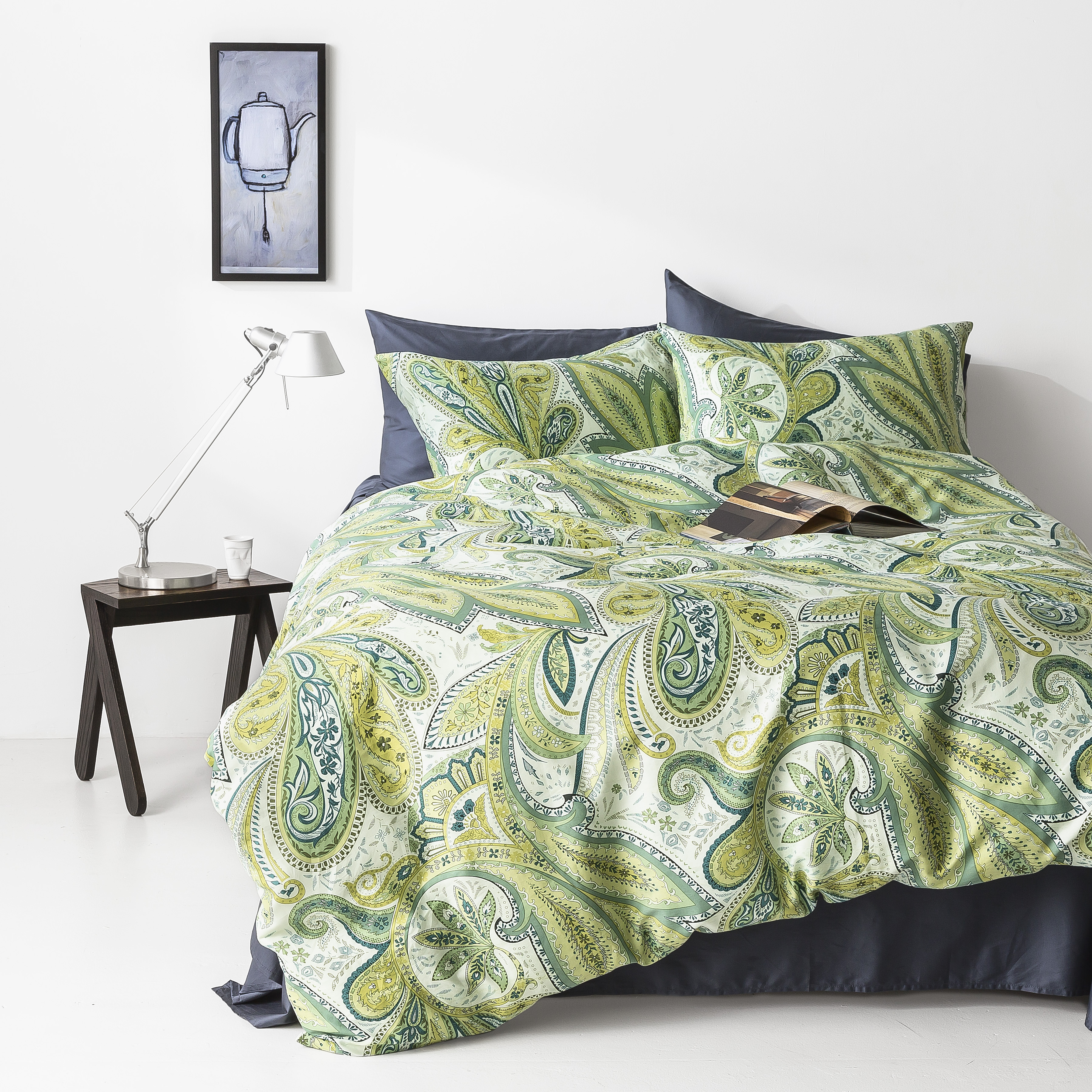In2linen Paisley 100% Cotton 300 thread Quilt Cover Set | Green