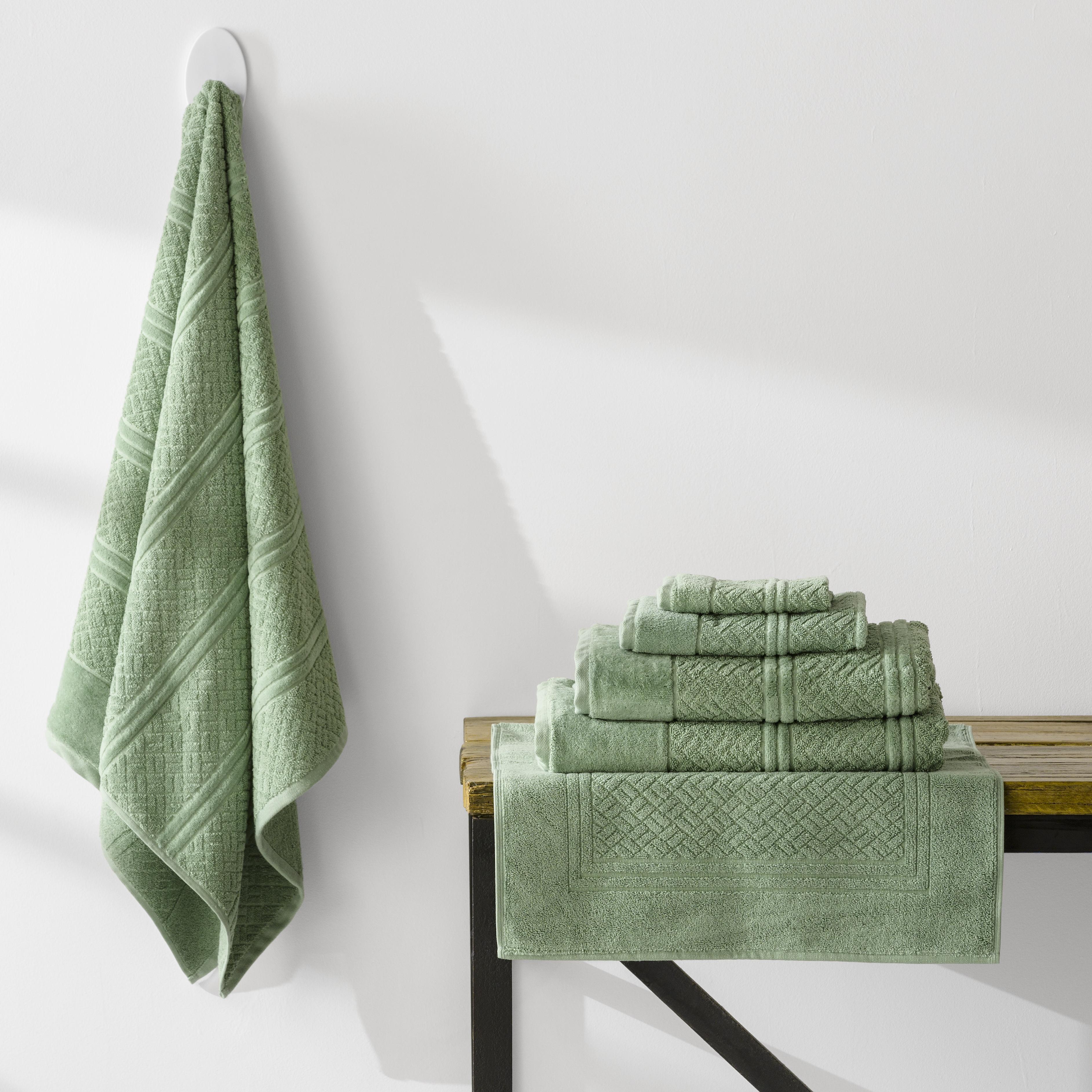 7 Piece Turkish Cotton Towels Jaquard  Weave | Basil