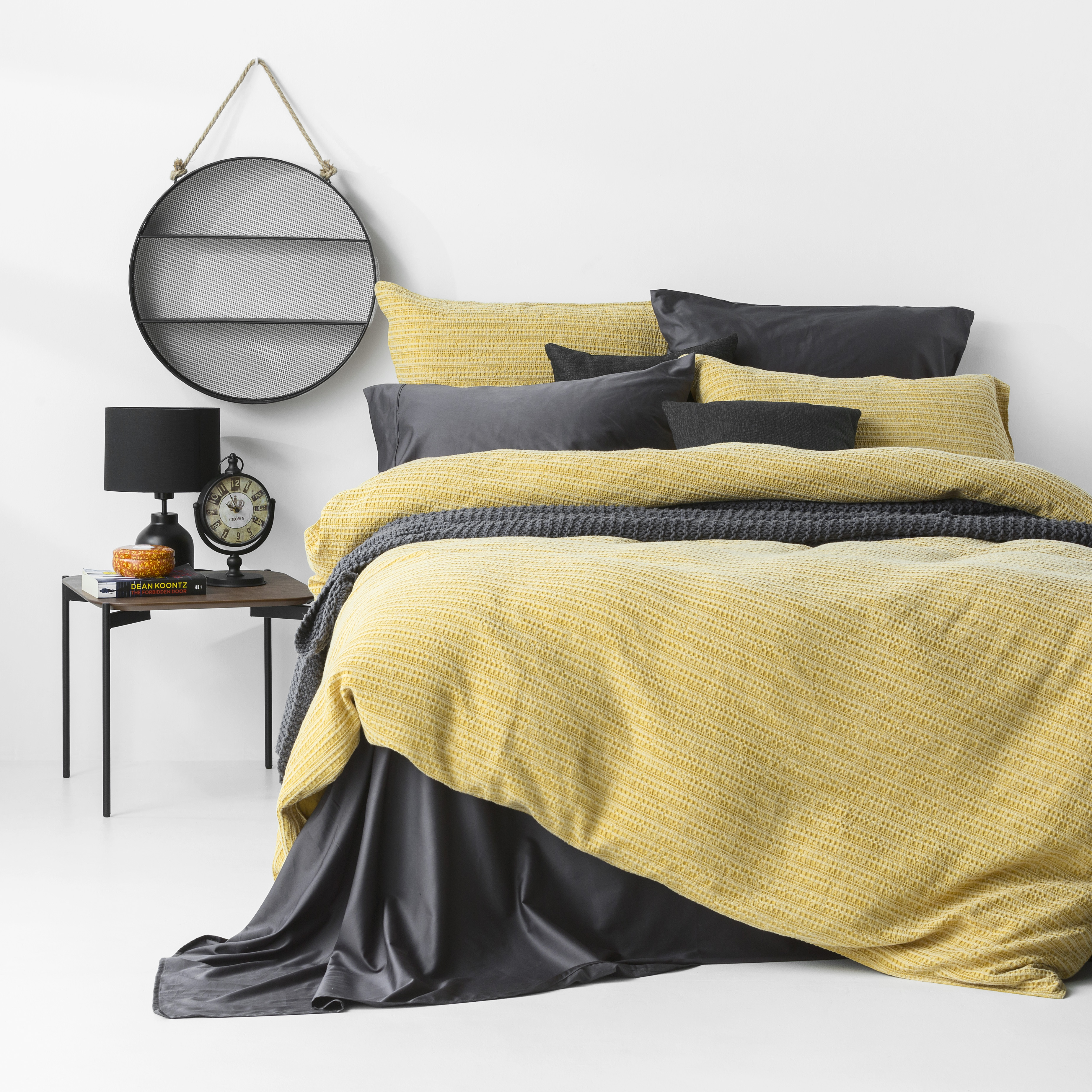 In2Linen Stone Washed Waffle Weave Pure Cotton Quilt Cover Set IMustard Yellow