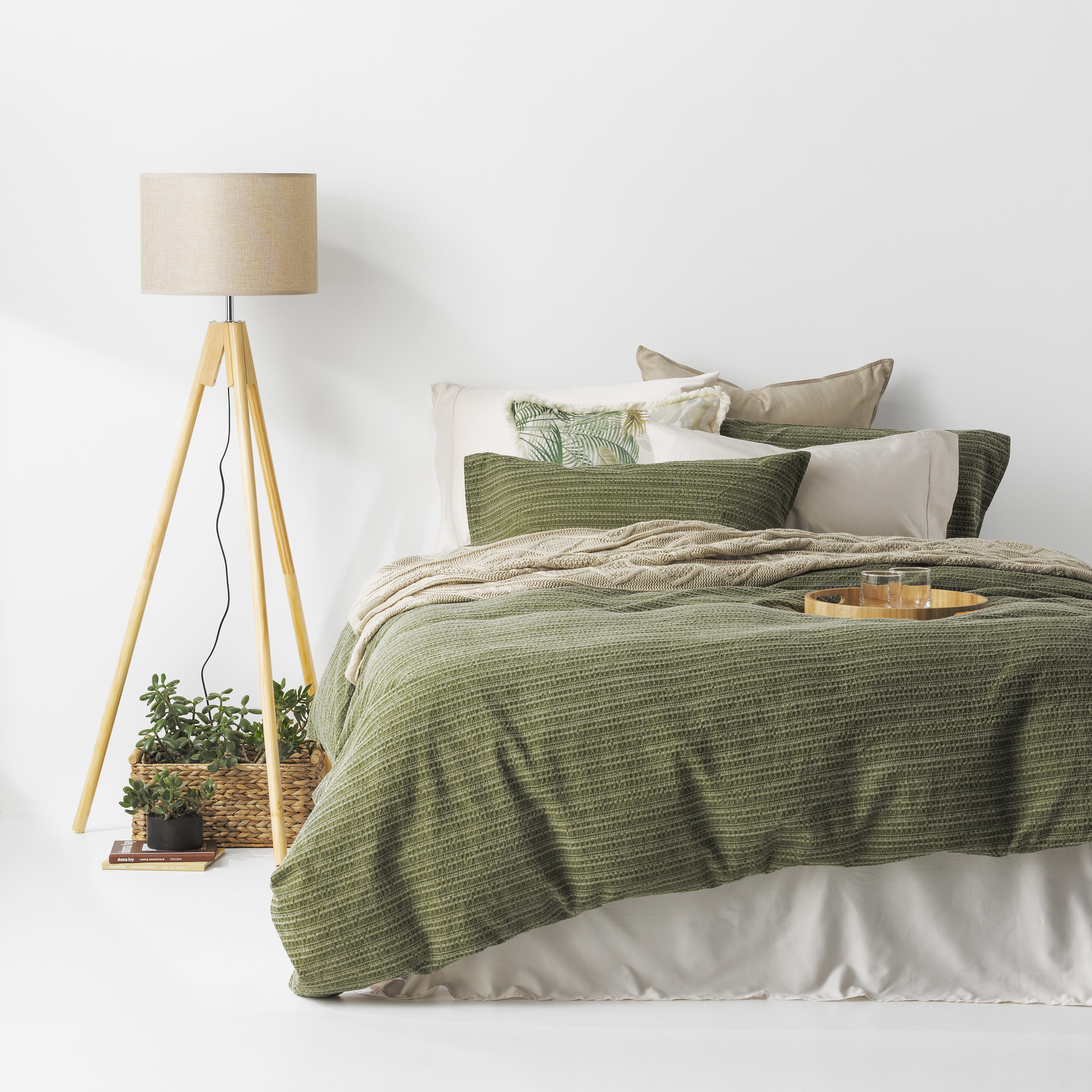 In2Linen Stone Washed Waffle Weave Pure Cotton Quilt Cover Set IGreen