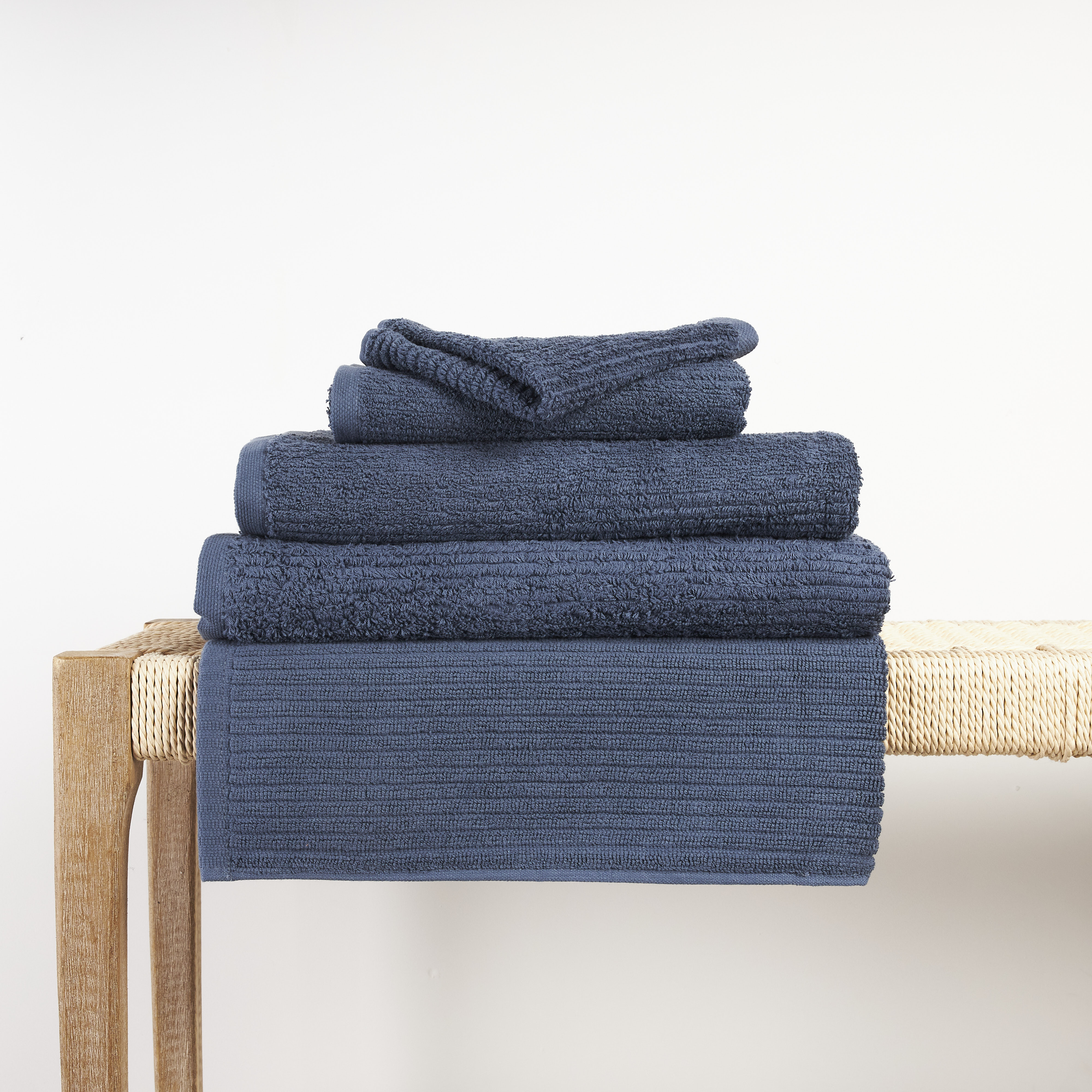 In2linen Classic Egyptian Cotton Ribbed Towel | Denim Blue