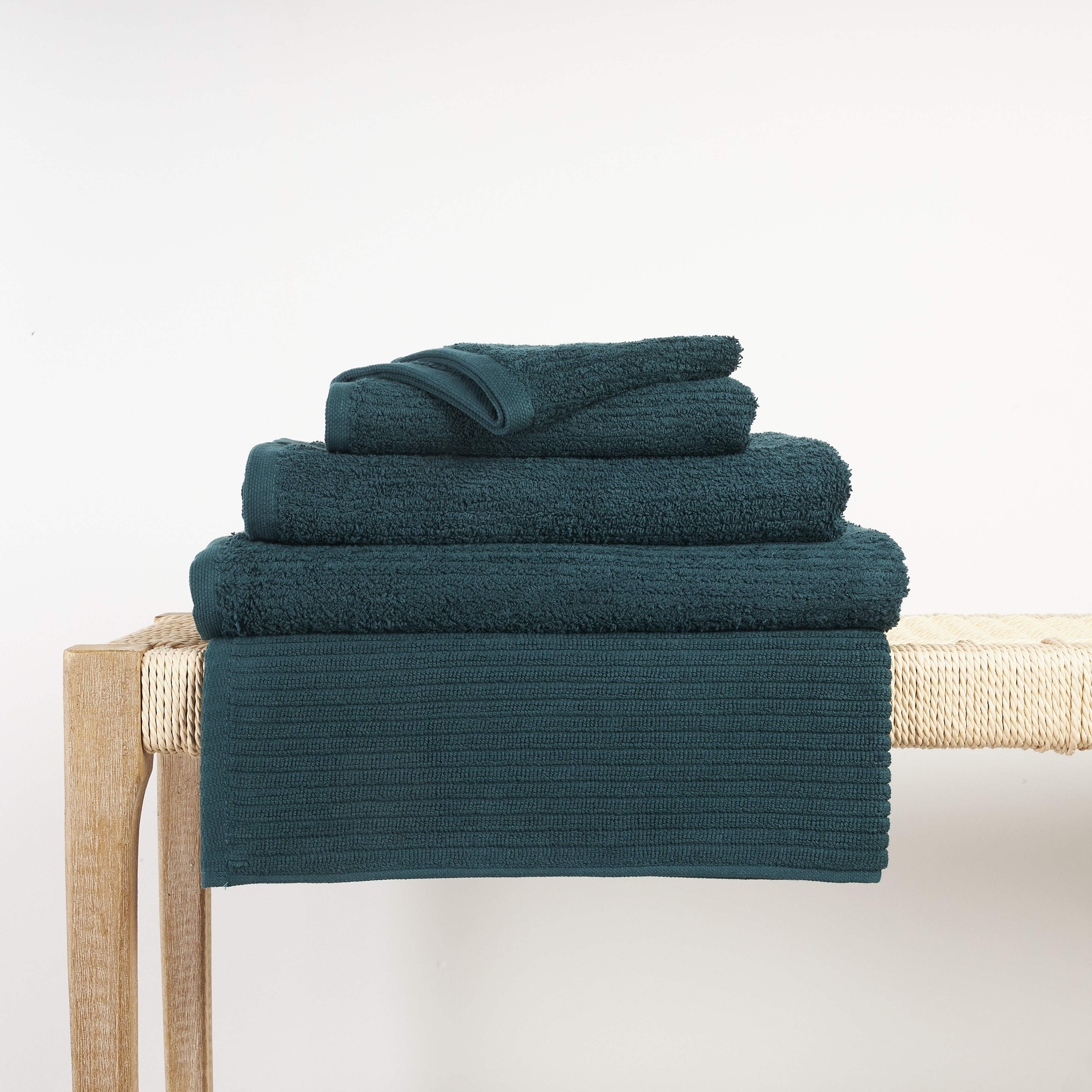 In2linen Classic Egyptian Cotton Ribbed Towel   Teal Green