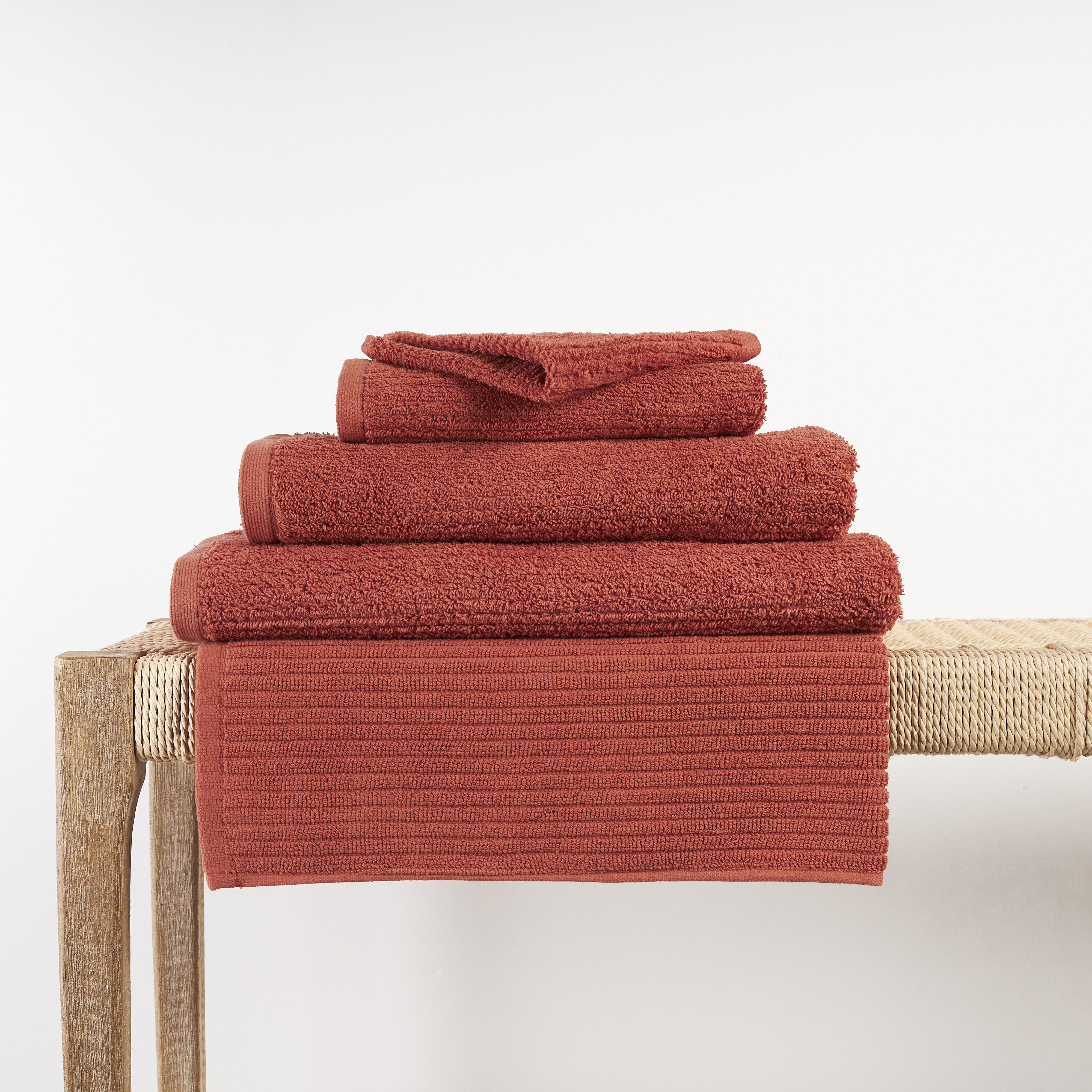 In2linen Classic Egyptian Cotton Ribbed Towel | Brick Clay