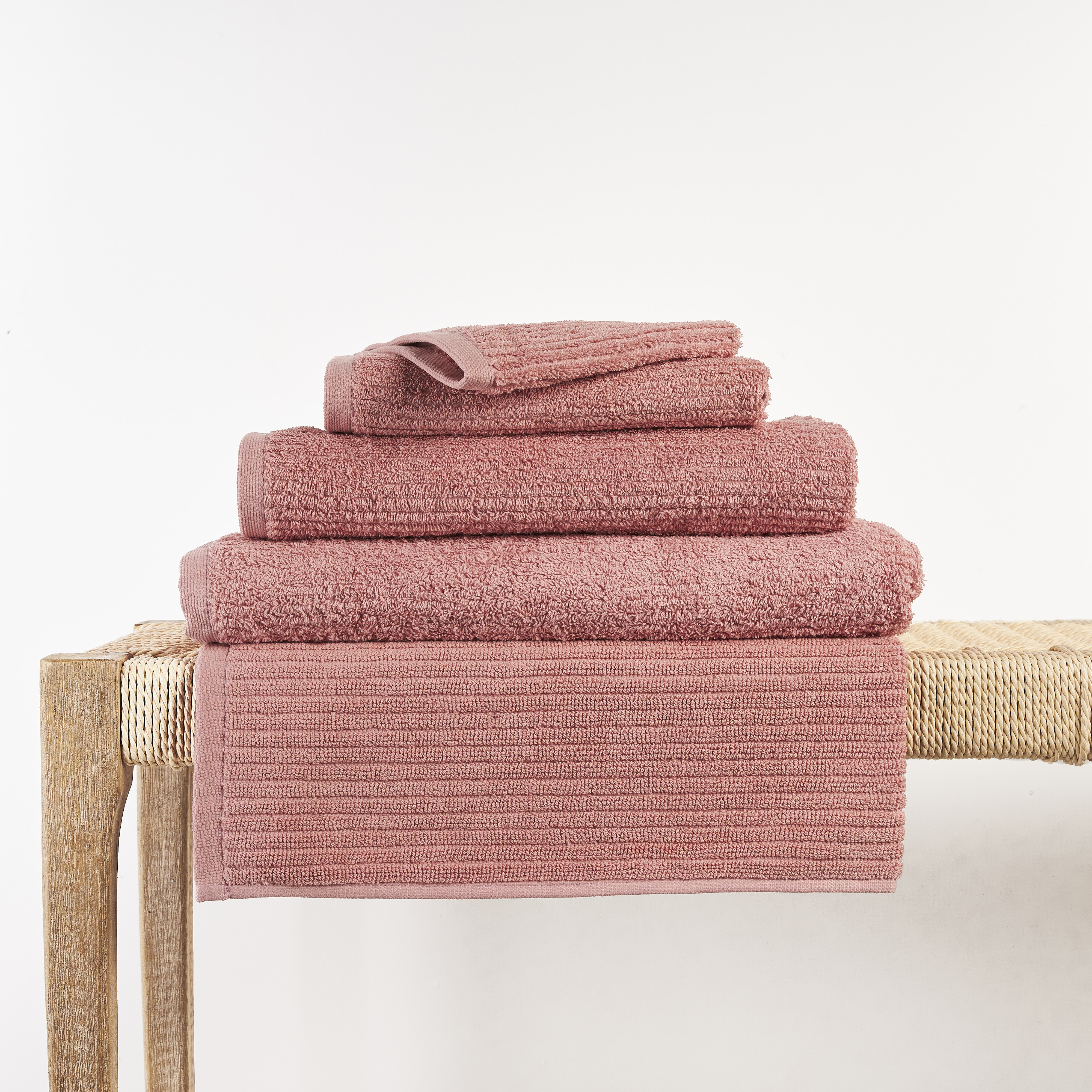 In2linen Classic Egyptian Cotton Ribbed Towel   Blush Pink