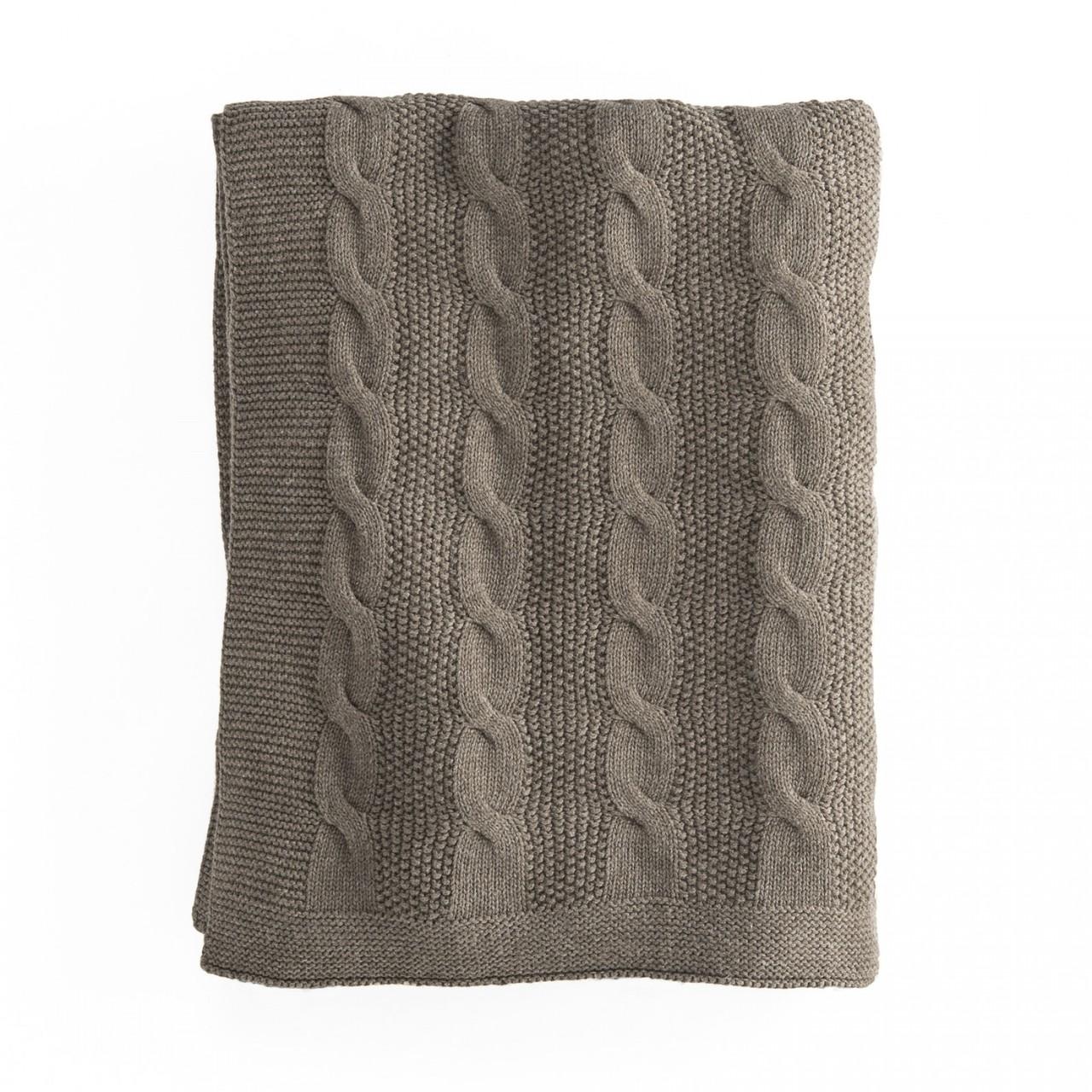 In2Linen Orlando 100% Cotton Cable Knit Throw | Brown/Mocha