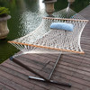 Lazy Daze Hammocks 12 Feet Steel Hammock Stand with Cotton Rope Hammock Combo, Quilted Polyester Hammock Pad and Pillow, Lofton Stripe Opal