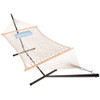 Lazy Daze Hammocks 12 Feet Steel Hammock Stand with Cotton Rope Hammock Combo, Quilted Polyester Hammock Pad and Pillow, Zinger Peacock