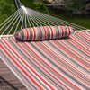 Lazy Daze Hammocks 15 Feet Heavy Duty Steel Hammock Stand, Two Person Quilted Fabric Hammock And Pillow Combo,Sienna Stripe