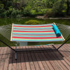 Lazy Daze Hammocks 15 Feet Heavy Duty Steel Hammock Stand Two Person Quilted Fabric Hammock And Pillow Combo, Blue&Red Stripe