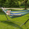 Portable Double Size Canvas Hammock with Spacing Saving Stand includes Carry Bag (Green Stripe)