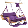 Lazy Daze Hammocks Deluxe Oversized Double Hanging Rope Chair Cotton Padded Swing Chair Wood Arc Hammock Seat with Cup Holder,Footrest&Hardware, Capacity 450 lbs (Purple)