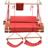 Lazy Daze Hammocks Deluxe Oversized Double Hanging Rope Chair Cotton Padded Swing Chair Wood Arc Hammock Seat with Cup Holder,Footrest&Hardware, Capacity 450 lbs (Red)
