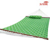 Lazy Daze Quilted Fabric Hammock with Poly Pillow Hardwood Spreader Bar 55''Double Size, Apple Green Quatrefoil