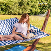 "Quilted Fabric Hammock with Hardwood Spreader Bar and Poly Pillow, 55"" Double Size, Blue Chevron Stripe"