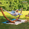 """Quilted Fabric Hammock with Hardwood Spreader Bar and Poly Pillow, 55"""" Double Size, Blue Chevron Stripe"""