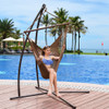 Lazy Daze Hammocks Caribbean Hanging Swing Chair, Soft Spun Polyester Rope, 47-inch Wood Spreader Bar, Weight Capacity 300 Pounds (Tan)