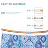 Lazy Daze 13 FT Double Quilted Fabric Hammock with Curved Bamboo Bar, Detachable Pillow, Carrying Bag, Large Folding Portable Hammock, Blue Exotic