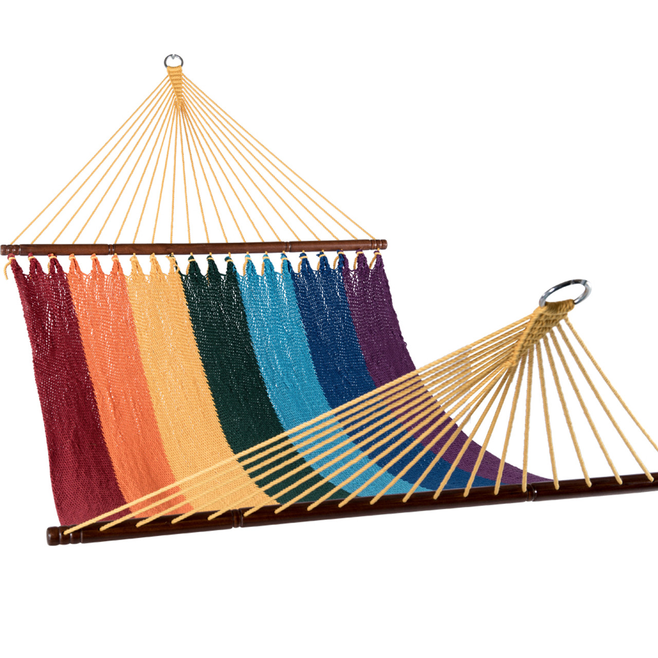 Double Caribbean Hammock Tight Weave Outdoor Poly Rope Swing Bed 55 Inch Rainbow
