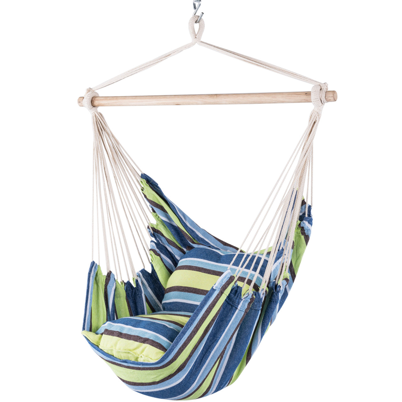 Canvas Hanging Hammock Swing Chair With Cushions Green Blue And Brown
