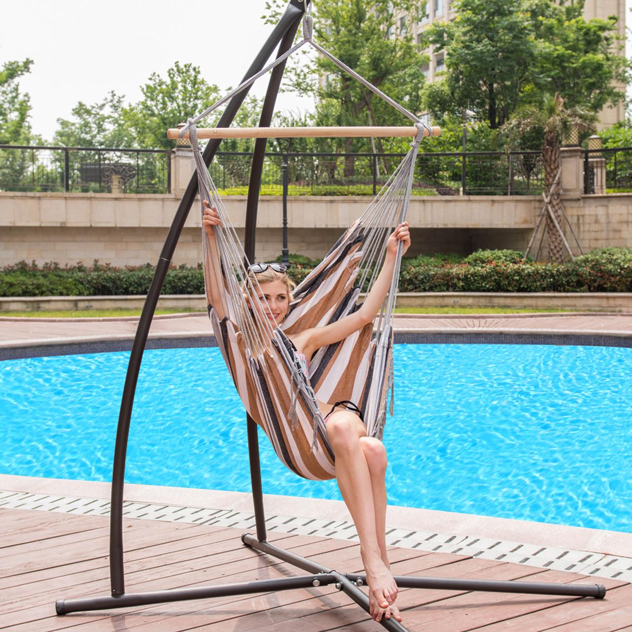 Lazy Daze Hammocks Canvas Hanging Hammock Swing Chair Seat With Wood  Spreader Bar (Desert Stripe)