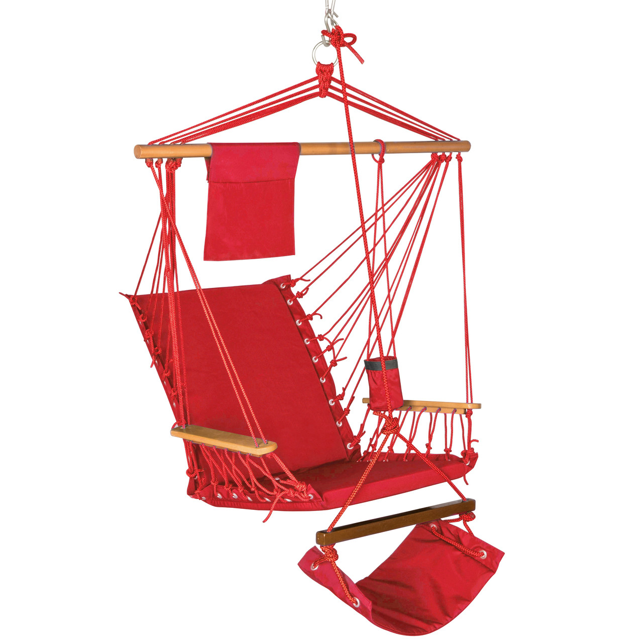 Lazy Daze Hammocks Hanging Rope Chair Cotton Padded Swing Chair Hammock Seat With Cup Holder Footrest Hardware