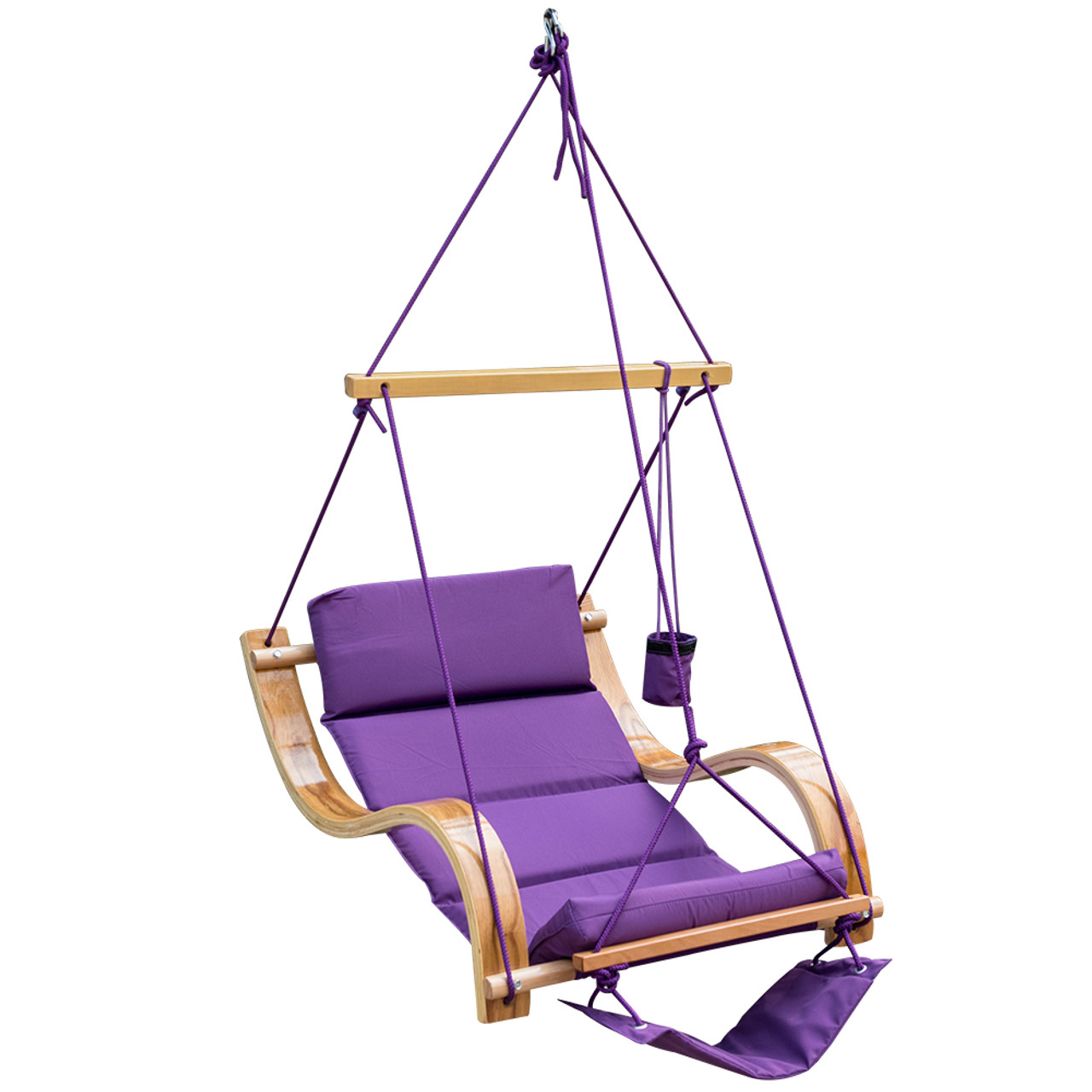 Lazy Daze Hammocks Patio Garden Outdoor Deluxe Hanging Hammock Lounger Chair With Cup Holder Footrest Hardware Capacity 350 Lbs Purple