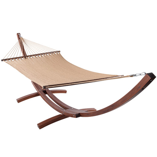 51inch Double Caribbean Hammock Hand Woven Polyester Rope Outdoor Patio Swing Bed (Tan)