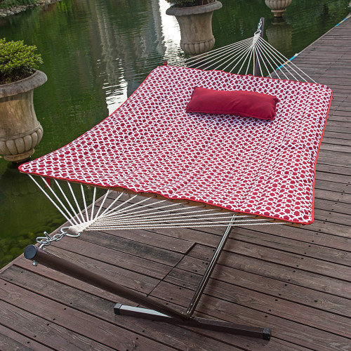 Lazy Daze Hammocks 12 Feet Steel Hammock Stand with Cotton Rope Hammock Combo,Quilted Polyester Hammock Pad and Pillow, Cape Cod Red