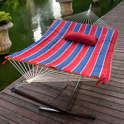 Lazy Daze Hammocks 12 Feet Steel Hammock Stand with Cotton Rope Hammock Combo, Quilted Polyester Hammock Pad and Pillow, Red/Navy Stripe