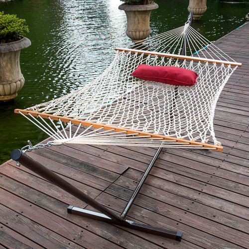 Lazy Daze Hammocks 12 Feet Steel Hammock Stand with Cotton Rope Hammock Combo, Quilted Polyester Hammock Pad and Pillow,Red Citrus