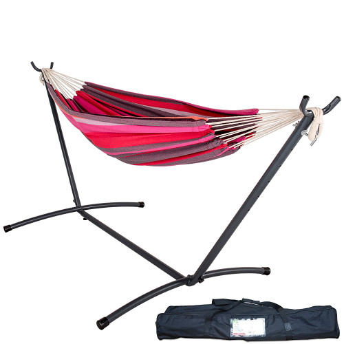 Lazy Daze Hammocks Double Hammock with Space Saving Steel Stand Includes Portable Carrying Case, 450 Pounds Capacity (Cherry Stripe)