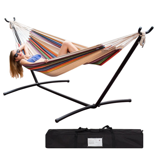 Lazy Daze Hammocks Double Hammock with Space Saving Steel Stand Includes Portable Carrying Case, 450 Pounds Capacity (Tan Stripe)