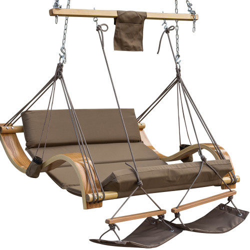 Lazy Daze Hammocks Deluxe Oversized Double Hanging Rope Chair Cotton Padded Swing Chair Wood Arc Hammock Seat with Cup Holder,Footrest&Hardware, Capacity 450 lbs (Tan)